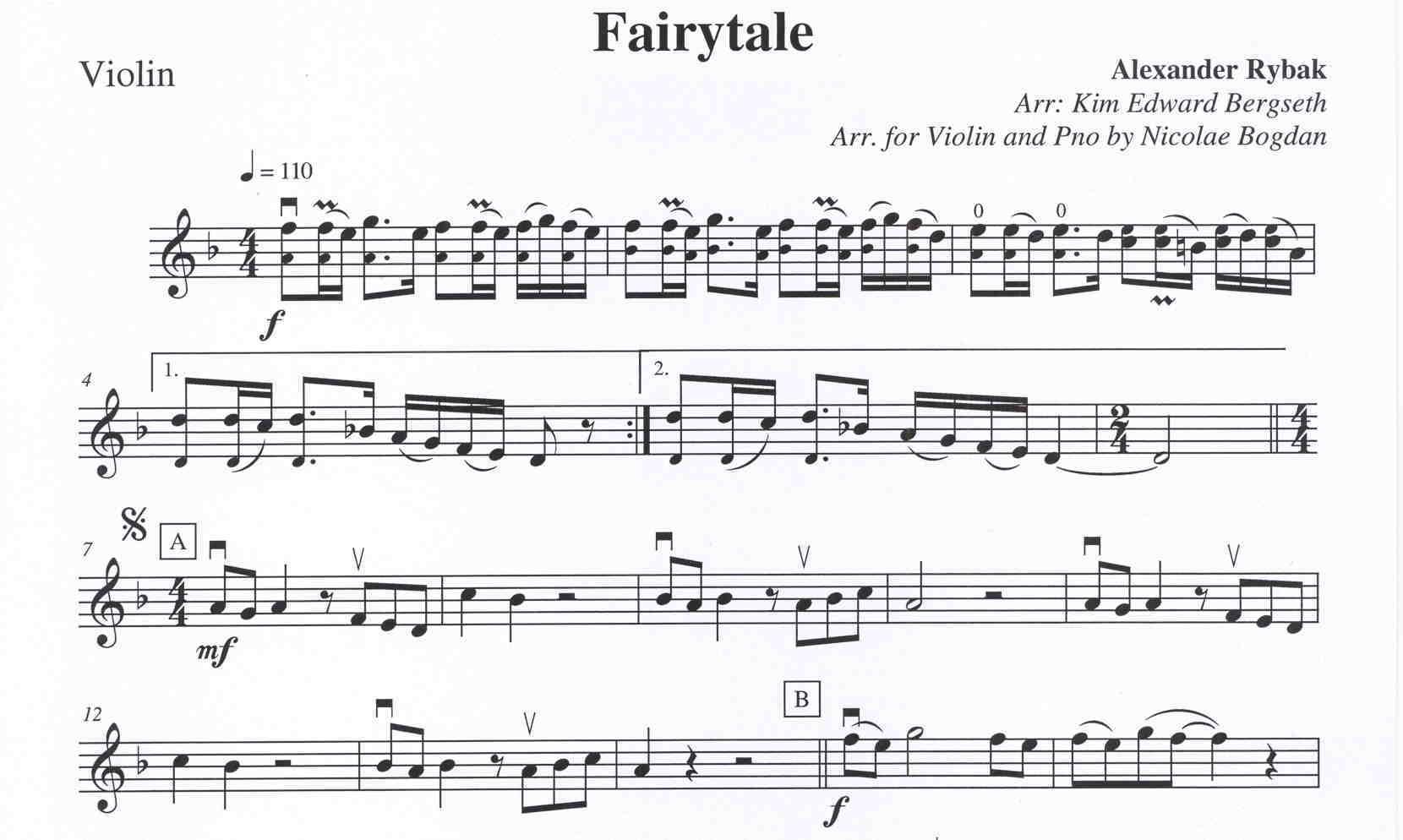 Fairytale By Rybak Alexander Violin Piano Enotyeu