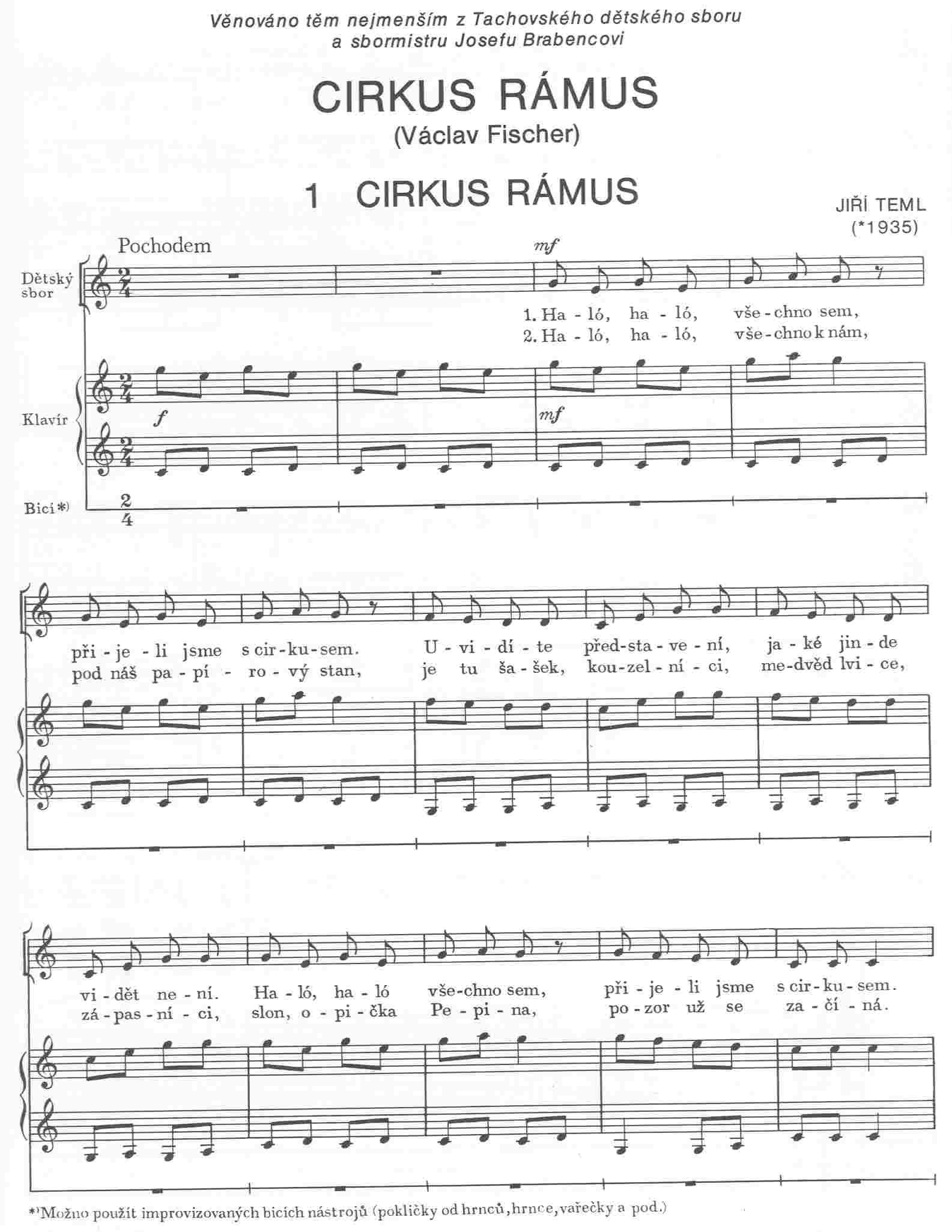 cirkus-ramuskolotoc-pisnicky-pro-detske-sbory-klav eNoty eu